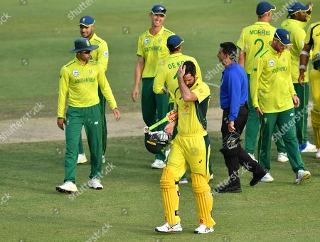 Ben Cutting of the Cricket Australia XI (C) reacts during the T20 tour match between the Cricket Australia XI and South Africa played at Allan Border Field in Brisbane, Australia, 14 November 2018.