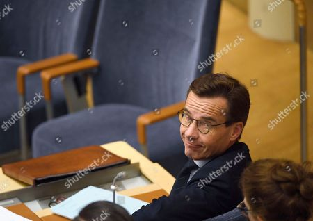 Stock Photo of Swedish Conservative Party Moderaterna party leader Ulf Kristersson before a vote to become Prime Minister in the Riksdag, Stockholm, Sweden, 14 November 2018. Swedish parliamentary majority voted against Kristersson with 195 votes from 349. Sweden remains in a political impass since 09 September general elections in which no party got enough votes to form a majority government.