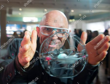 Stock Picture of Jason Bradbury from the gadget show playing with Air Hogs Supernova toy