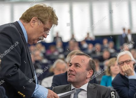German politician and Member of the European Parliament Elmar Brok  (L) speaks with Chairman of the EPP Group in the European Parliament Manfred Weber (R) at the European Parliament in Strasbourg, France, 14 November 2018.