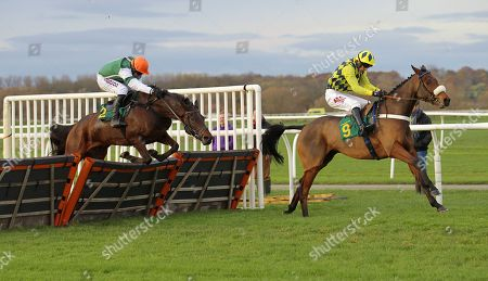 Stock Photo of The Some Dance Kid and William Kennedy win the SP Energy Maiden Hurdle at Bangor-on-Dee from Flash The Steel.