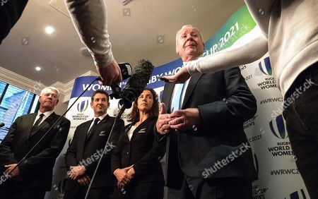 Steve Tew (New Zealand World Rugby Council Member) with Mark Robinson and Farah Palmer from the New Zealand Bid Team and Bill Beaumont (World Rugby Chairman)