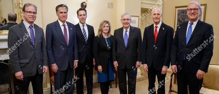 Senate Majority Mitch McConnell (3-R), with Republican Senators Elect Mike Braun (L), of Indiana, Mitt Romney (2-L), of Utah, Josh Hawley (3-R), of Missouri, Marsha Blackburn (C), of Tennessee, Florida Governor and Senate candidate from Florida Rick Scott (2-R) and Kevin Cramer (R), of North Dakota, meet for a photo-op in Leader McConnell's office in the US Capitol in Washington, DC, USA, 14 November 2018.