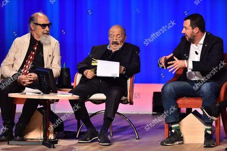 Stock Picture of Roberto D Agostino, Maurizio Costanzo and Matteo Salvini