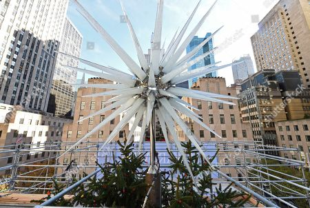 IMAGE DISTRIBUTED FOR TISHMAN SPEYER - The 2018 Swarovski Star is seen at the top of the Rockefeller Center Christmas tree, in New York. The iconic star has been reimagined by architect Daniel Libeskind and features 3 million Swarovski crystals on 70 illuminated spikes. The 86th Rockefeller Center Christmas Tree Lighting ceremony will take place on Wednesday, Nov. 28