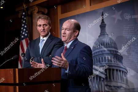 Jeff Flake, Chris Coons. Sen. Jeff Flake, R-Ariz., left, and Sen. Chris Coons, D-Del., speak to reporters about their effort to bring up legislation to protect special counsel Robert Mueller, at the Capitol in Washington, . Senate Republicans are facing renewed pressure to pass legislation to protect Mueller, with a handful of GOP senators urging their leadership to hold a vote now that President Donald Trump has pushed out Attorney General Jeff Sessions
