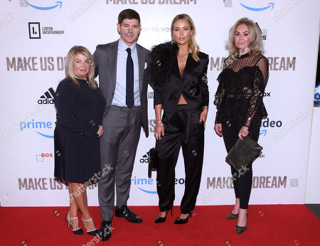 Steven Gerrard and his mother Julie Ann (L) and Alex Curran and her mother Kim Clayton (R)