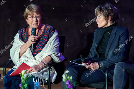Stock Photo of U.N. High Commissioner for Human Rights Chilean Michelle Bachelet (L) and Micheline Calmy-Rey (R), former President of the Swiss Confederation speak at a press conference during the Week of Human Rights about the rescue of human rights at the University of Geneva (UNIGE), Geneva, Switzerland, 14 November 2018.