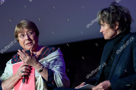 U.N. High Commissioner for Human Rights Chilean Michelle Bachelet (L) and Micheline Calmy-Rey (R), former President of the Swiss Confederation speak at a press conference during the Week of Human Rights about the rescue of human rights at the University of Geneva (UNIGE), Geneva, Switzerland, 14 November 2018.