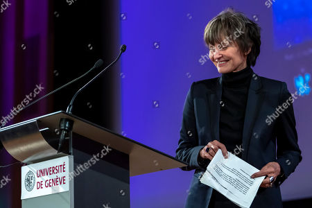 Micheline Calmy-Rey, former President of the Swiss Confederation, speaks at a press conference during the Week of Human Rights about the rescue of human rights at the University of Geneva (UNIGE), Geneva, Switzerland, 14 November 2018.