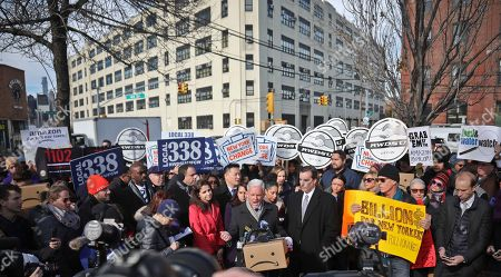 New York City Councillor Jimmy Van Bramer, center, speaks during a coalition rally and press conference of elected officials, community organizations and unions opposing Amazon headquarters getting subsidies to locate in the New York neighborhood of Long Island City, Queens, in New York