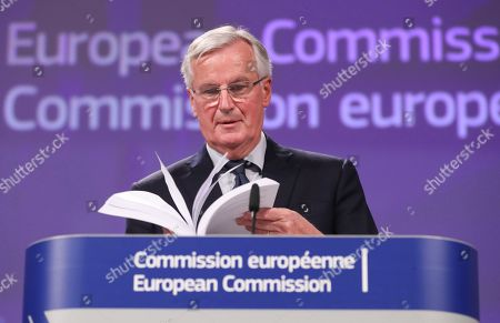 Michel Barnier, the European Chief Negotiator of the Task Force for the Preparation and Conduct of the Negotiations with the United Kingdom under Article 50 gives a press briefing at EU commission in Brussels, Belgium, 14 November 2018. The British cabinet has backed the draft Brexit withdrawal agreement.