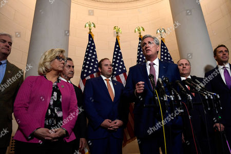 Tom Emmer, Liz Cheney, Gary Palmer, Jason Smith, Kevin McCarthy, Steve Scalise, Mark Walker. House Majority Leader Kevin McCarthy of Calif., third from right, speaks following a meeting on Capitol Hill in Washington, for the House Republican leadership elections. Joining McCarthy are, from left, Rep. Tom Emmer, R-Minn., Rep. Liz Cheney, R-Wy., Rep. Gary Palmer, R-Ala., Rep. Jason Smith, R- Mo., House Majority Whip Steve Scalise, R-La., and Rep. Mark Walker, R-N.C