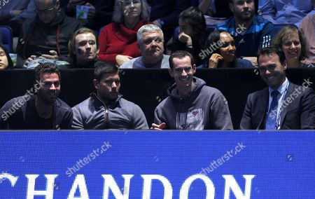 Stock Picture of Andy Murray of Great Britain watches the action court side with Ross Hutchins, Dani Vallverdu and Jean-Julien Rojer
