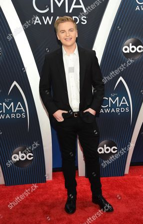Stock Image of Caleb Lee Hutchinson arrives at the 52nd annual CMA Awards at Bridgestone Arena, in Nashville, Tenn