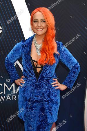 Meghan Linsey arrives at the 52nd annual CMA Awards at Bridgestone Arena, in Nashville, Tenn