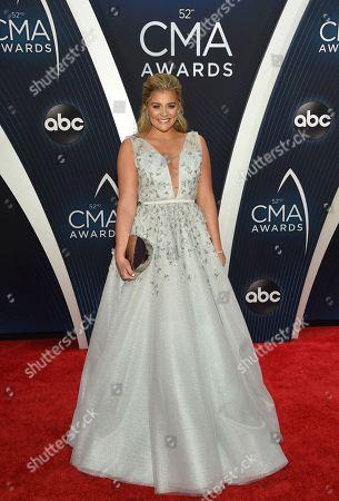 Lauren Alaina arrives at the 52nd annual CMA Awards at Bridgestone Arena, in Nashville, Tenn
