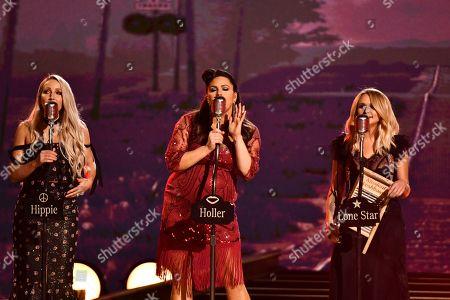 Ashley Monroe, from left, Angaleena Presley and Miranda Lambert of Pistol Annies perform 'Got My Name Changed Back'