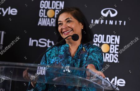 HFPS President Meher Tatna announces Isan Elba, daughter of Idris Elba as the 2019 Golden Globe Ambassador at a press conference at The Four Seasons Los Angeles on