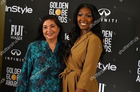 Isan Elba, Meher Tatna. HFPS President Meher Tatna poses with Isan Elba, daughter of actor Idris Elba, who she announced as the 2019 Golden Globe Ambassador at a press conference at The Four Seasons Los Angeles on