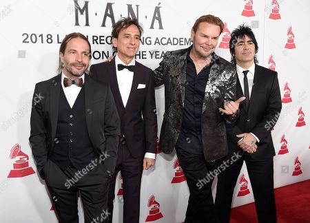Sergio Vallin, Juan Calleros, Fher Olvera, Alex Gonzalez. Sergio Vallin, from left, Juan Calleros, Fher Olvera and Alex Gonzalez, of Mana, arrive at the Latin Recording Academy Person of the Year gala in their honor at the Mandalay Bay Events Center on