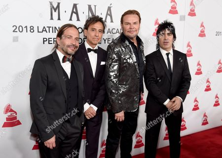 Sergio Vallin, Juan Calleros, Fher Olvera and Alex Gonzalez. Sergio Vallin, from left, Juan Calleros, Fher Olvera and Alex Gonzalez, of Mana, arrive at the Latin Recording Academy Person of the Year gala in their honor at the Mandalay Bay Events Center on