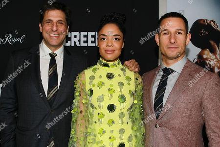 Jonathan Glickman, Tessa Thompson and Adam Rosenberg