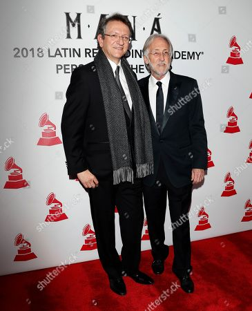 Neil Portnow, the President of the Recording Academy (R), and Gabriel Abaroa, President and CEO of the Latin Recording Academy (L) arrive for the 2018 Latin Recording Academy Person of the Year Gala at the Mandalay Bay Convention Center in Las Vegas, Nevada, USA, 14 November 2018. Latin Grammy Awards recognize artistic and/or technical achievement, not sales figures or chart positions, and the winners are determined by the votes of their peers-the qualified voting members of the academy.