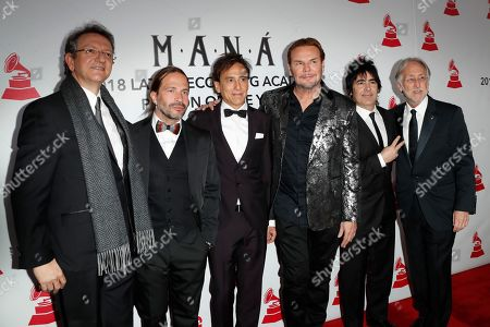 Mana arrives with Neil Portnow, the president of the Recording Academy (R), and Gabriel Abaroa, President and CEO of the Latin Recording Academy (L) arrive for the 2018 Latin Recording Academy Person of the Year Gala at the Mandalay Bay Convention Center in Las Vegas, Nevada, USA, 14 November 2018. Latin Grammy Awards recognize artistic and/or technical achievement, not sales figures or chart positions, and the winners are determined by the votes of their peers-the qualified voting members of the academy.