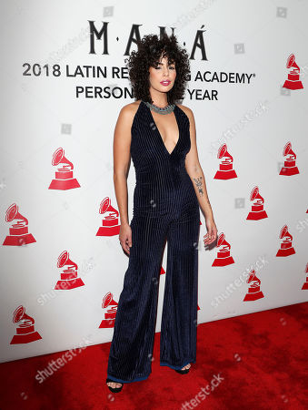 Puerto Rican singer Raquel Sofia arrives for the 2018 Latin Recording Academy Person of the Year Gala at the Mandalay Bay Convention Center in Las Vegas, Nevada, USA, 14 November 2018. Latin Grammy Awards recognize artistic and/or technical achievement, not sales figures or chart positions, and the winners are determined by the votes of their peers-the qualified voting members of the academy.