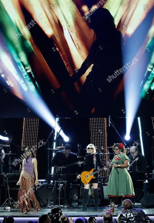 Beatriz Luengo, Australian musician Orianthi and US singer La Marisoul perform at the 2018 Latin Recording Academy Person of the Year Gala honoring Mana at the Mandalay Bay Convention Center in Las Vegas, Nevada, USA, 14 November 2018. Latin Grammy Awards recognize artistic and/or technical achievement, not sales figures or chart positions, and the winners are determined by the votes of their peers-the qualified voting members of the academy.