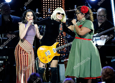 Beatriz Luengo, Orianthi and La Marisoul perform at the 2018 Latin Recording Academy Person of the Year Gala honoring Mana at the Mandalay Bay Convention Center in Las Vegas, Nevada, USA, 14 November 2018. Latin Grammy Awards recognize artistic and/or technical achievement, not sales figures or chart positions, and the winners are determined by the votes of their peers-the qualified voting members of the academy.