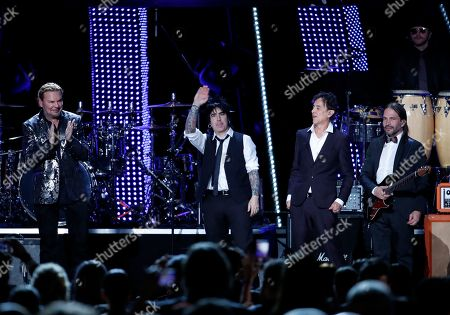 Rock Band Mana consisting of Fher Olvera, Alex Gonzalez, Juan Calleros and Sergio Vallin applaud the audience during the 2018 Latin Recording Academy Person of the Year Gala at the Mandalay Bay Convention Center in Las Vegas, Nevada, USA, 14 November 2018. Latin Grammy Awards recognize artistic and/or technical achievement, not sales figures or chart positions, and the winners are determined by the votes of their peers-the qualified voting members of the academy.