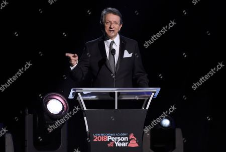 Gabriel Abaroa, president and CEO of the Latin Recording Academy, speaks at the Latin Recording Academy Person of the Year gala honoring Mana at the Mandalay Bay Events Center on