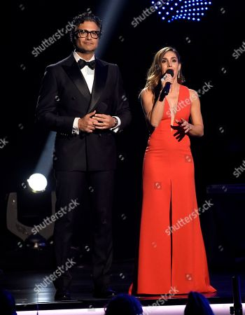 Jaime Camil, Soledad Pastorutti. Jaime Camil, left, and Soledad Pastorutti speak at the Latin Recording Academy Person of the Year gala honoring Mana at the Mandalay Bay Events Center on