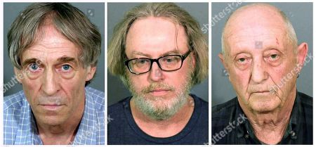 Bruce Bemer, Robert King, William Trefzger. This combination of booking photos released by the Danbury Police Department shows, from left, Bruce Bemer in 2017, Robert King in 2015, and William Trefzger in 2017, all arrested in Danbury, Conn., in connection to a human trafficking ring. King and Trefzger pleaded guilty to charges in 2018 and Bemer is expected to go on trial in 2019