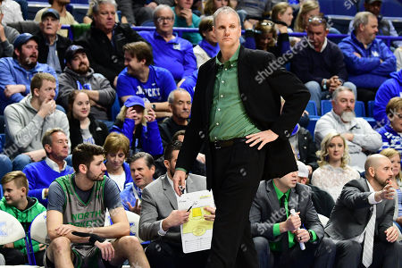 North Dakota Head Coach Brian Jones watches the action on the floor during a NCAA men's college basketball game between the University of North Dakota Fighting Hawks and Kentucky Wildcats at Rupp Arena in Lexington, KY. Kentucky won 96-58