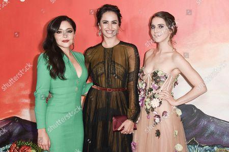 """Teresa Ruiz, Fernanda Urrejola, Tessa Ia. Teresa Ruiz, from left, Fernanda Urrejola and Tessa Ia attend Netflix's """"Narcos: Mexico Season 1"""" premiere event at Regal Cinemas L.A. LIVE, in Los Angeles"""