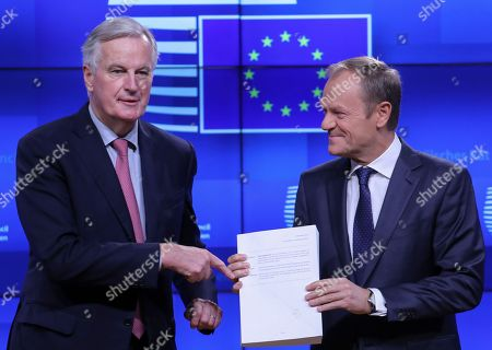 Draft Brexit withdrawal agreement handover at European Union, Brussels