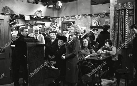 Graham Haberfield (as Jerry Booth), Arthur Leslie (as Jack Walker), Bernard Youens (as Stan Ogden), Jean Alexander (as Hilda Ogden), Peter Adamson (as Len Fairclough), Margot Bryant (as Minnie Caldwell), Violet Carson (as Ena Sharples), William Roache (as Ken Barlow), Doris Speed (as Annie Walker), Anne Reid (as Valerie Barlow), Anne Cunningham (as Linda Cheveski), Paul Maxwell (as Steve Tanner), Philip Lowrie (as Dennis Tanner) and Ernst Walder (as Ivan Cheveski)