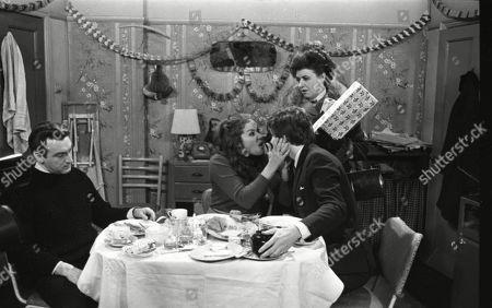 Ernst Walder (as Ivan Cheveski), Anne Cunningham (as Linda Cheveski), Philip Lowrie (as Dennis Tanner) and Pat Phoenix (as Elsie Tanner)