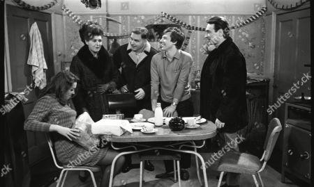 Anne Cunningham (as Linda Cheveski), Pat Phoenix (as Elsie Tanner), Paul Maxwell (as Steve Tanner), Philip Lowrie (as Dennis Tanner) and Ernst Walder (as Ivan Cheveski)
