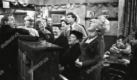 Graham Haberfield (as Jerry Booth), Arthur Leslie (as Jack Walker), Jean Alexander (as Hilda Ogden), Peter Adamson (as Len Fairclough), Margot Bryant (as Minnie Caldwell), Eileen Derbyshire (as Emily Nugent), William Roache (as Ken Barlow), Violet Carson (as Ena Sharples), Doris Speed (as Annie Walker), Philip Lowrie (as Dennis Tanner) and Ernst Walder (as Ivan Cheveski)