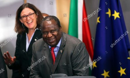 Stock Image of South African Finance Minister Tito Mboweni (R) and European Commissioner for Trade Cecilia Malmstrom (L) during the 7th EU-South Africa summit in Brussels, Belgium, 15 November 2018. European Union and South African leaders meet to discuss bilateral relations.