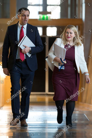 Scottish Parliament First Minister's Questions - Anas Sarwar and Pauline McNeill make their way to the Debating Chamber.