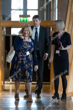 Stock Photo of Scottish Parliament First Minister's Questions - Linda Fabiani, Deputy Presiding Officer of The Scottish Parliament, and Ken Macintosh, The Presiding Officer of The Scottish Parliament, make their way to the Debating Chamber.