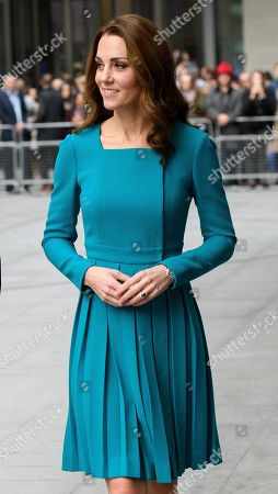 Stock Picture of Catherine Duchess of Cambridge at the BBC to highlight work to combat cyberbullying