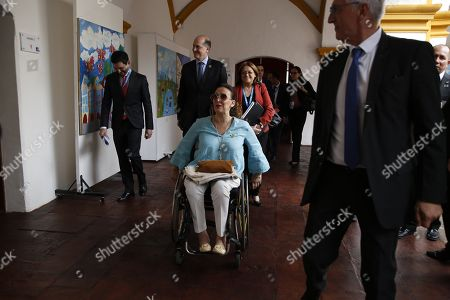 The Vice President of Argentina Gabriela Michetti (C), arrives for an event in Antigua, Guatemala, 15 November 2018. Michetti will represent President Mauricio Macri at the 26th Ibero-American Summit of Heads of State, this Friday in Antigua. Others are not identified.