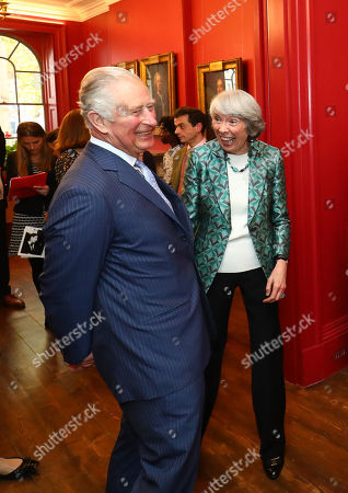 Prince Charles accompanied by Chairman Fiona Grant during a visit to The Royal Society of Musicians of Great Britain