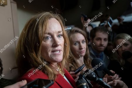 Stock Picture of Rep. Kathleen Rice, D-N.Y., talks to reporters about her opposition to House Minority Leader Nancy Pelosi, D-Calif., becoming the speaker of the House when the Democrats take the majority in the 116th Congress, in the basement of the Capitol in Washington, . A group of 17 Democrats led by Rep. Rice, Rep. Seth Moulton D-Mass., and others, have pledged to vote against Pelosi's return as the first female speaker of the House